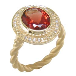 L2331 18KT Sunstone and Diamond Ring
