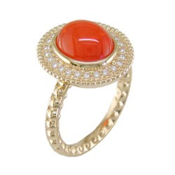 L2338 18KT Fire Opal & Diamond Ring