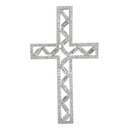 P2339 18KW Diamond Cross Pendant