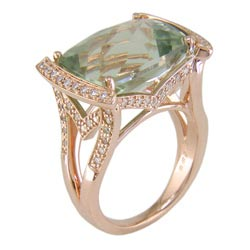 L2346 18KP Green Amethyst & Diamond Ring
