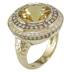L2357 18KT Yellow Beryl, Cognac & White Diamond Ring