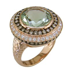 L2357 18KR Green Amethyst, Cognac & White Diamond Ring