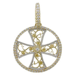 P2358 18KT Yellow Sapphire & Diamond Cross Pendant