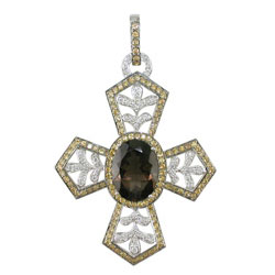 P2365 18KW Smokey Topaz, Yellow Sapphire & Diamond Cross Pendant