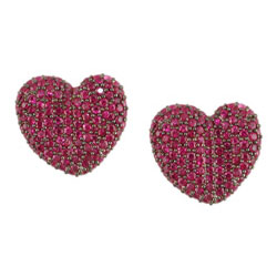 E2367 18KW Ruby Heart Earrings