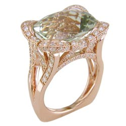 L2379 18KR Green Amethyst & Diamond Ring