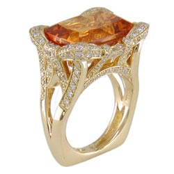 L2379 18KT Madeira Citrine & Diamond Ring