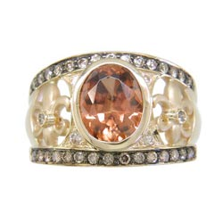 L2385 18KT Imperial Zircon, Cognac & White Diamond Ring