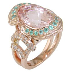 L2386 18KP Morganite, Paraiba & Diamond Ring