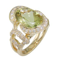 L2387 18KT Yellow Beryl & Diamond Ring