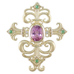 P2411 18KT Kunzite, Tsavorite, and Diamond Pendant