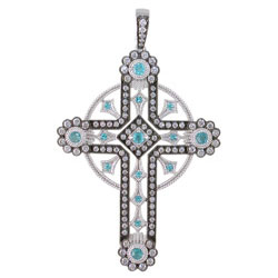 P2414 18KW Brazilian Paraiba & Diamond Cross Pendant