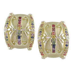 E2423 18KT Rainbow Sapphire & Diamond Earrings