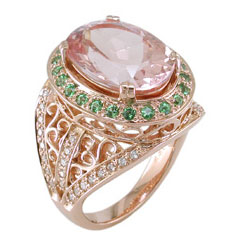 L2424 18KR Morganite, Tsavorite & Diamond Ring
