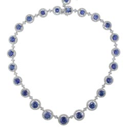 N2430 18KW Sapphire and Diamond Necklace