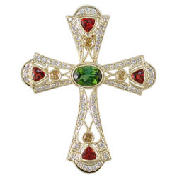 P2442 18KT Tourmaline, Sunstone, Yellow Sapphire & Diamond Cross