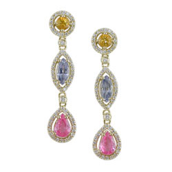 E2449 18KT Assorted Sapphire & Diamond Earrings