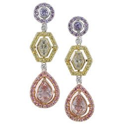 E2451 18KT Assorted Sapphire & Diamond Earrings