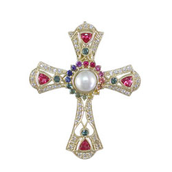 P2453 18KT Rainbow, Spinel & Diamond Cross