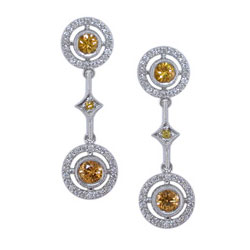 E2454 18KW Yellow Sapphire & Diamond Earrings