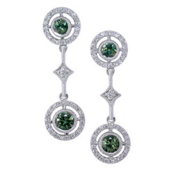 E2454 18KW Green Sapphire & Diamond Earrings