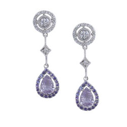 E2454 18KW Sapphire & Diamond Earrings