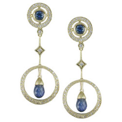 E2455 18KT Sapphire & Diamond Earrings