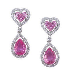 E2456 18KW Pink Sapphire & Diamond Earrings