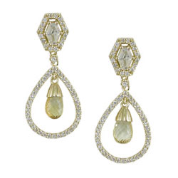 E2458 18KT Yellow Sapphire & Diamond Earrings