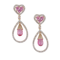 E2466 18KR Pink Sapphire & Diamond Earrings