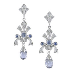 E2467 18KW Sapphire & Diamond Earrings