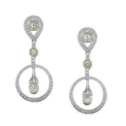 E2468 18KT/KW Yellow Sapphire & Diamond Earrings
