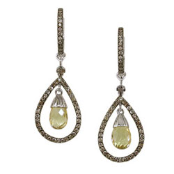E2469 18KW Yellow Sapphire & Champagne Diamond Earrings