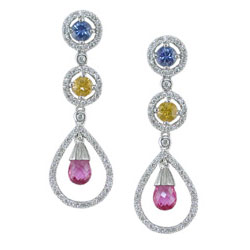 E2472 18KW Assorted Sapphire & Diamond Earrings