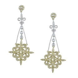 E2478 18KT/KW Diamond Fleur de Lis Earrings