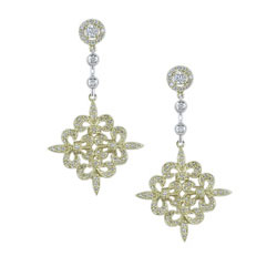E2480 18KT/KW Diamond Fleur de Lis Earrings