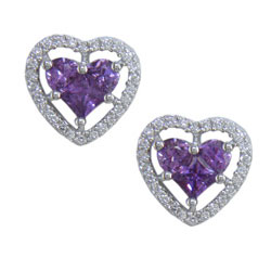 E2485 18KW Purple Sapphire & Diamond Earrings