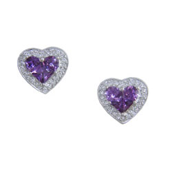 E2486 18KW Purple Sapphire & Diamond Earrings