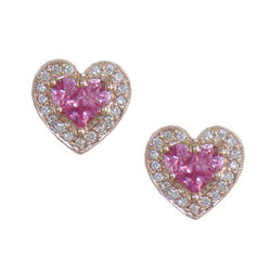 E2486 18KR Pink Sapphire & Diamond Earrings