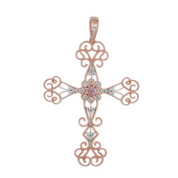 P2524 18KR Morganite & Diamond Cross Pendant