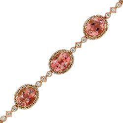 B2553 18KR Salmon Tourmaline & Diamond Bracelet