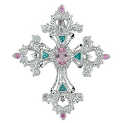 P2557 18KW Morganite, Brazilian Paraiba & Diamond Pendant