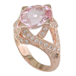 L0316 18KR Morganite & Diamond Ring