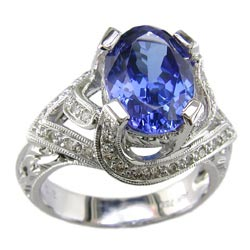 L0316 18KW Tanzanite and Diamond Ring