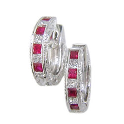 E0336 18KW Ruby and Diamond Earrings