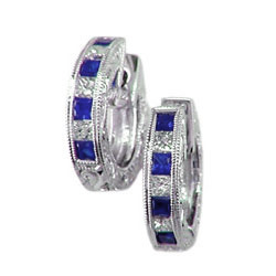 E0336 18KW Sapphire and Diamond Earrings