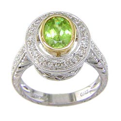 L0356 18KT/KW Sphene and Diamond Ring