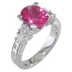 L0402 18KW Rubellite and Diamond Ring