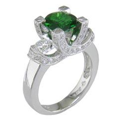 L0407 18KW Chrome Diopside & Diamond Ring