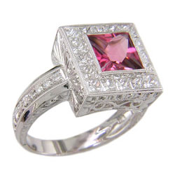L0409 18KW Rubellite and Diamond Ring